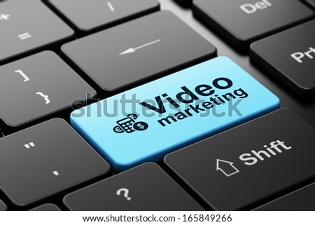 Finance concept: computer keyboard with Calculator icon and word Video Marketing, selected focus on enter button, 3d render - stock photo