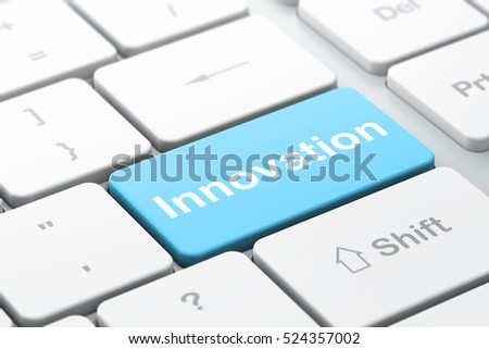 Finance concept: computer keyboard with word Innovation, selected focus on enter button background, 3D rendering