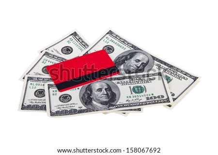 Finance concept, credit card and one hundred dollar banknotes, isolated on white background.