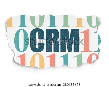 Finance concept: CRM on Torn Paper background - stock photo