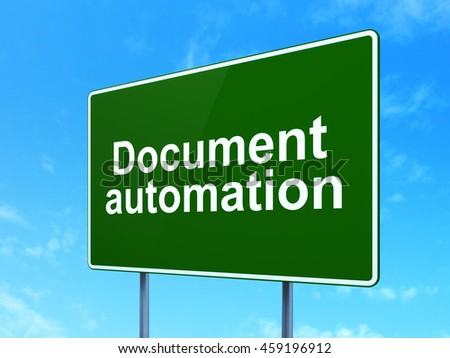 Finance concept: Document Automation on green road highway sign, clear blue sky background, 3D rendering - stock photo