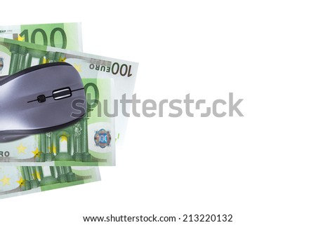 Finance concept, euro banknotes under computer mouse with copy space for your design, isolated on white background. - stock photo