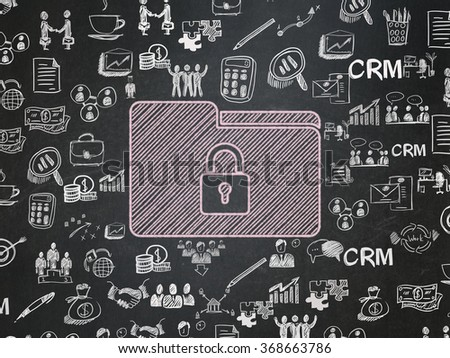 Finance concept: Folder With Lock on School Board background - stock photo