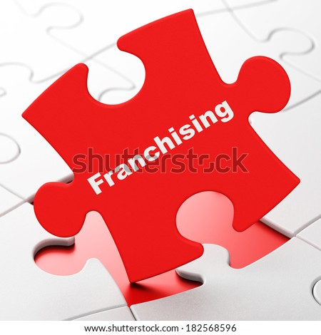 Finance concept: Franchising on Red puzzle pieces background, 3d render - stock photo