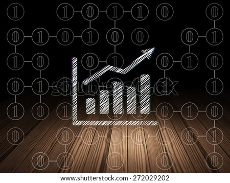 Finance concept: Glowing Growth Graph icon in grunge dark room with Wooden Floor, black background with Scheme Of Binary Code, 3d render - stock photo