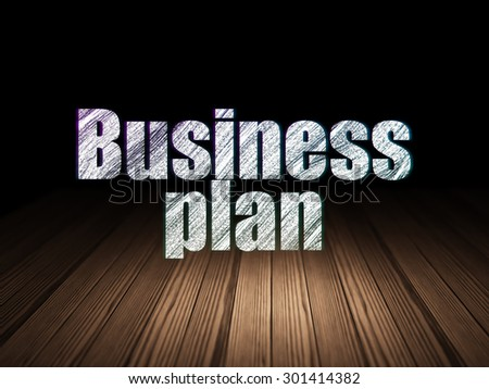 Finance concept: Glowing text Business Plan in grunge dark room with Wooden Floor, black background, 3d render