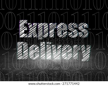 Finance concept: Glowing text Express Delivery in grunge dark room with Dirty Floor, black background with  Binary Code, 3d render - stock photo