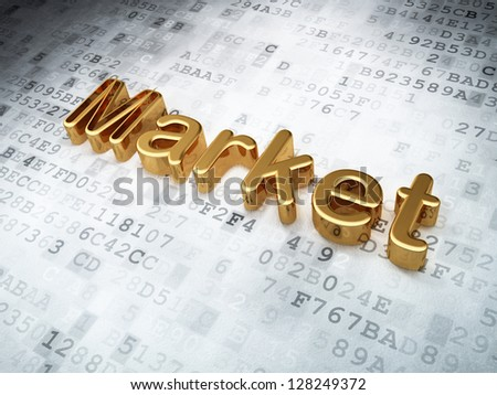 Finance concept: Golden Market on digital background, 3d render