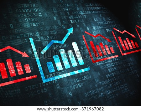 Finance concept: Graph on digital background - stock photo