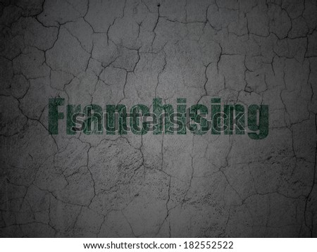 Finance concept: Green Franchising on grunge textured concrete wall background, 3d render - stock photo