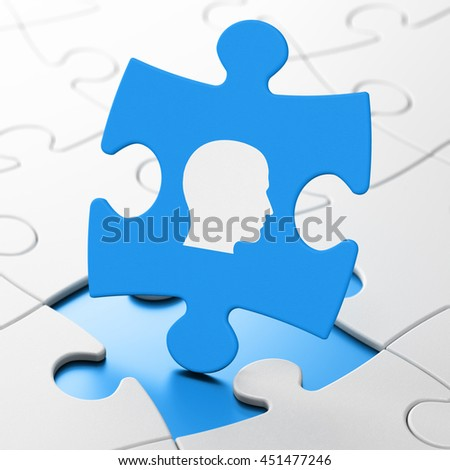 Finance concept: Head on Blue puzzle pieces background, 3D rendering - stock photo