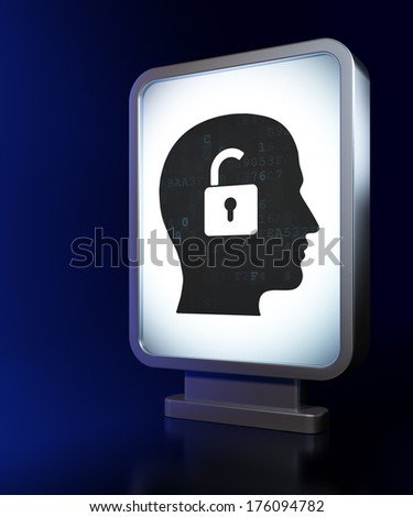 Finance concept: Head With Padlock on advertising billboard background, 3d render
