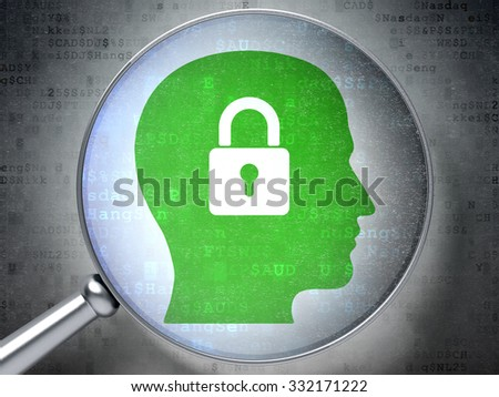 Finance concept: magnifying optical glass with Head With Padlock icon on digital background