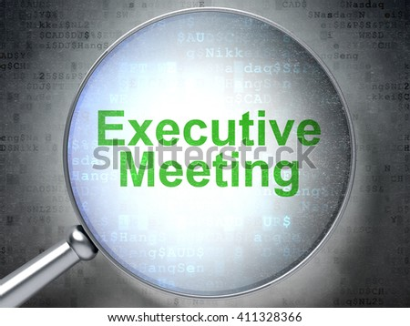 Finance concept: magnifying optical glass with words Executive Meeting on digital background, 3D rendering - stock photo