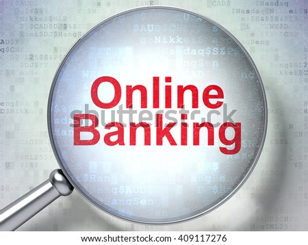 Finance concept: magnifying optical glass with words Online Banking on digital background, 3D rendering