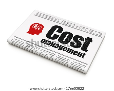 Finance concept: newspaper headline Cost Management and Head With Finance Symbol icon on White background, 3d render - stock photo