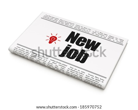 Finance concept: newspaper headline New Job and Light Bulb icon on White background, 3d render - stock photo