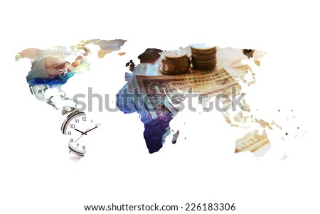 finance concept on world map - stock photo