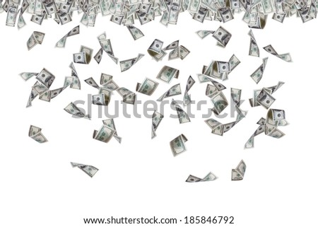 Finance concept, one hundred dollar banknotes flying, raining and falling down, isolated on white background. - stock photo