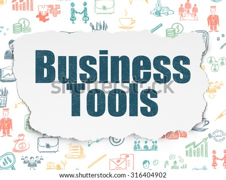 Finance concept: Painted blue text Business Tools on Torn Paper background with  Hand Drawn Business Icons
