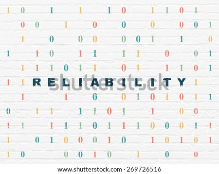 Finance concept: Painted blue text Reliability on White Brick wall background with Binary Code, 3d render - stock photo
