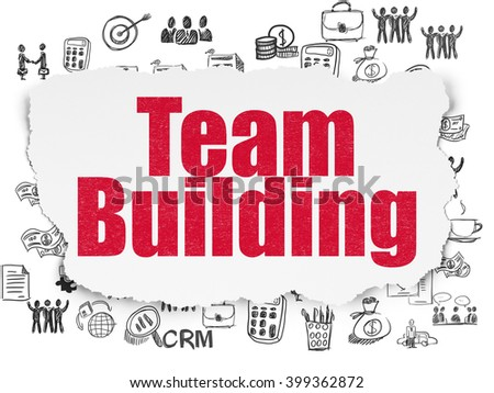 Finance concept: Painted red text Team Building on Torn Paper background with  Hand Drawn Business Icons - stock photo