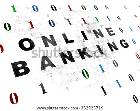 Finance concept: Pixelated black text Online Banking on Digital wall background with Binary Code