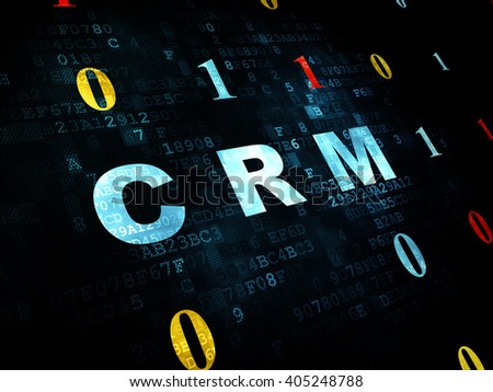 Finance Concept Pixelated Blue Text Crm Stock Illustration 405248788