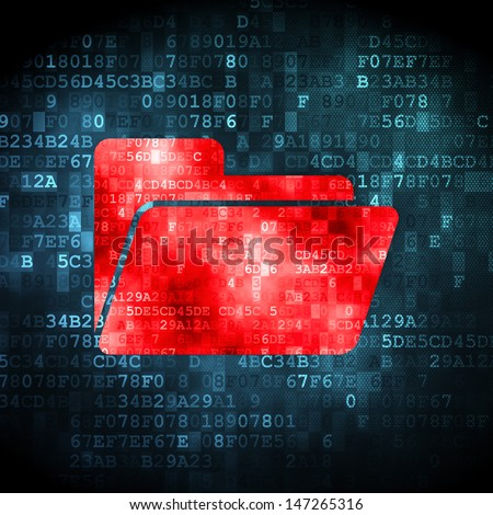 Finance concept: pixelated Folder icon on digital background, 3d render - stock photo