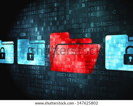 Finance concept: pixelated Folder With Padlock icon on digital background, 3d render - stock photo