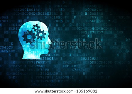 Finance concept: pixelated Head With Gears icon on digital background, empty copyspace for card, text, advertising - stock photo