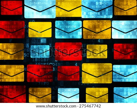 Finance concept: Pixelated multicolor Email icons on Digital background, 3d render - stock photo