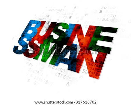 Finance concept: Pixelated multicolor text Businessman on Digital background