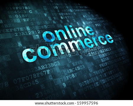 Finance concept: pixelated words Online Commerce on digital background, 3d render