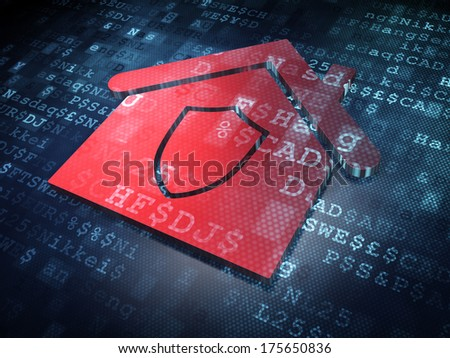 Finance concept: Red Home on digital background, 3d render - stock photo
