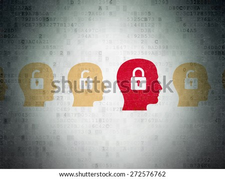 Finance concept: row of Painted yellow head with padlock icons around red head with padlock icon on Digital Paper background, 3d render