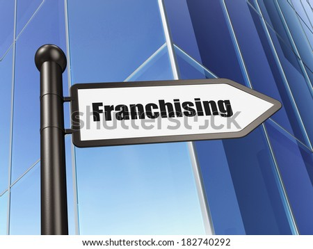 Finance concept: sign Franchising on Building background, 3d render - stock photo