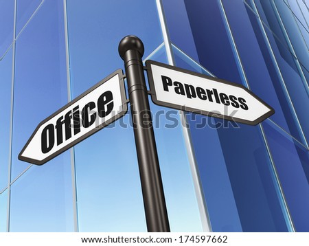 Finance concept: sign Paperless Office on Building background, 3d render - stock photo