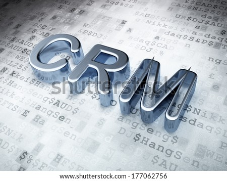 Finance concept: Silver CRM on digital background, 3d render - stock photo