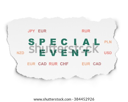 Finance concept: Special Event on Torn Paper background