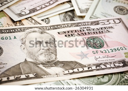 finance concept, special toned photo f/x, focus point on eye (selective) - stock photo