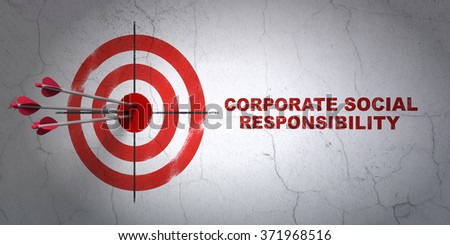 Finance concept: target and Corporate Social Responsibility on wall background - stock photo