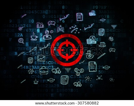Finance concept: Target on Digital background - stock photo