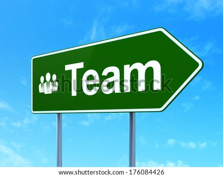 Finance concept: Team and Business People icon on green road (highway) sign, clear blue sky background, 3d render