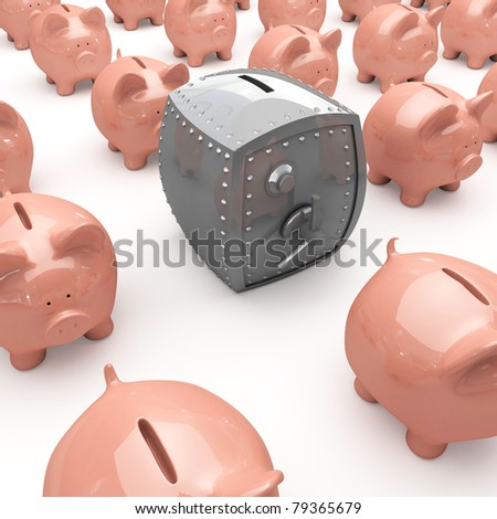 Finance concept with piggy bank and bank safe. - stock photo