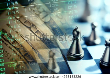 Finance data, money and chess. Business concept. - stock photo