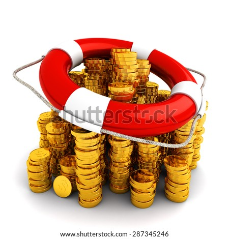 Finance deposit insurance and money safety concept, lifebuoy on a stack of gold coins isolated on white background - stock photo