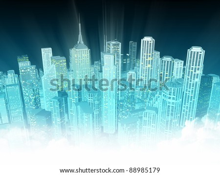Finance District at Night - stock photo
