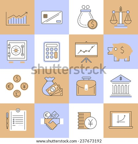 Finance flat line icons set with cash handshake calculator isolated  illustration