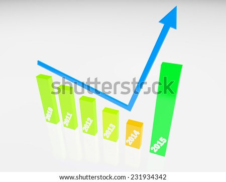 finance graphic 3d increase,become better on new year 2015,white color background